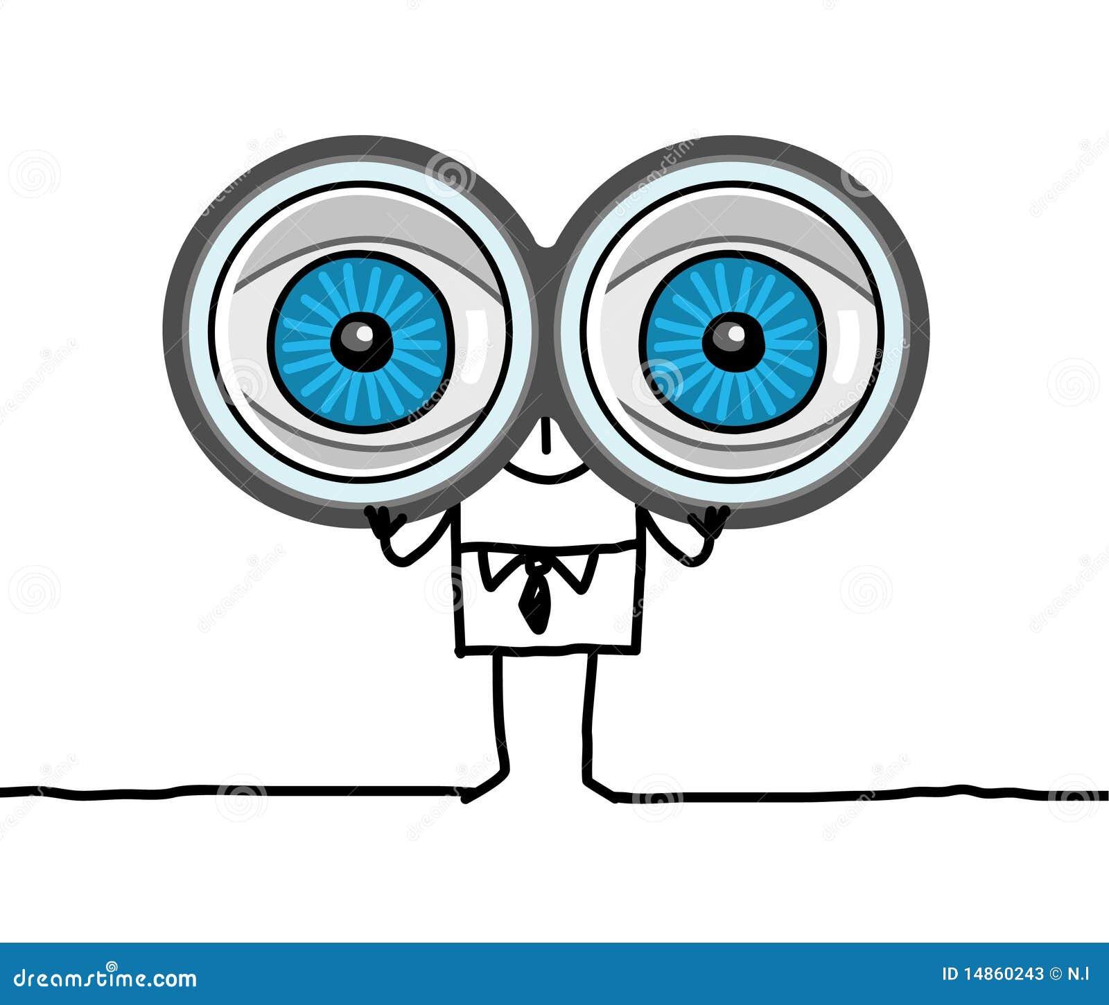 Grandi occhi e binocolo