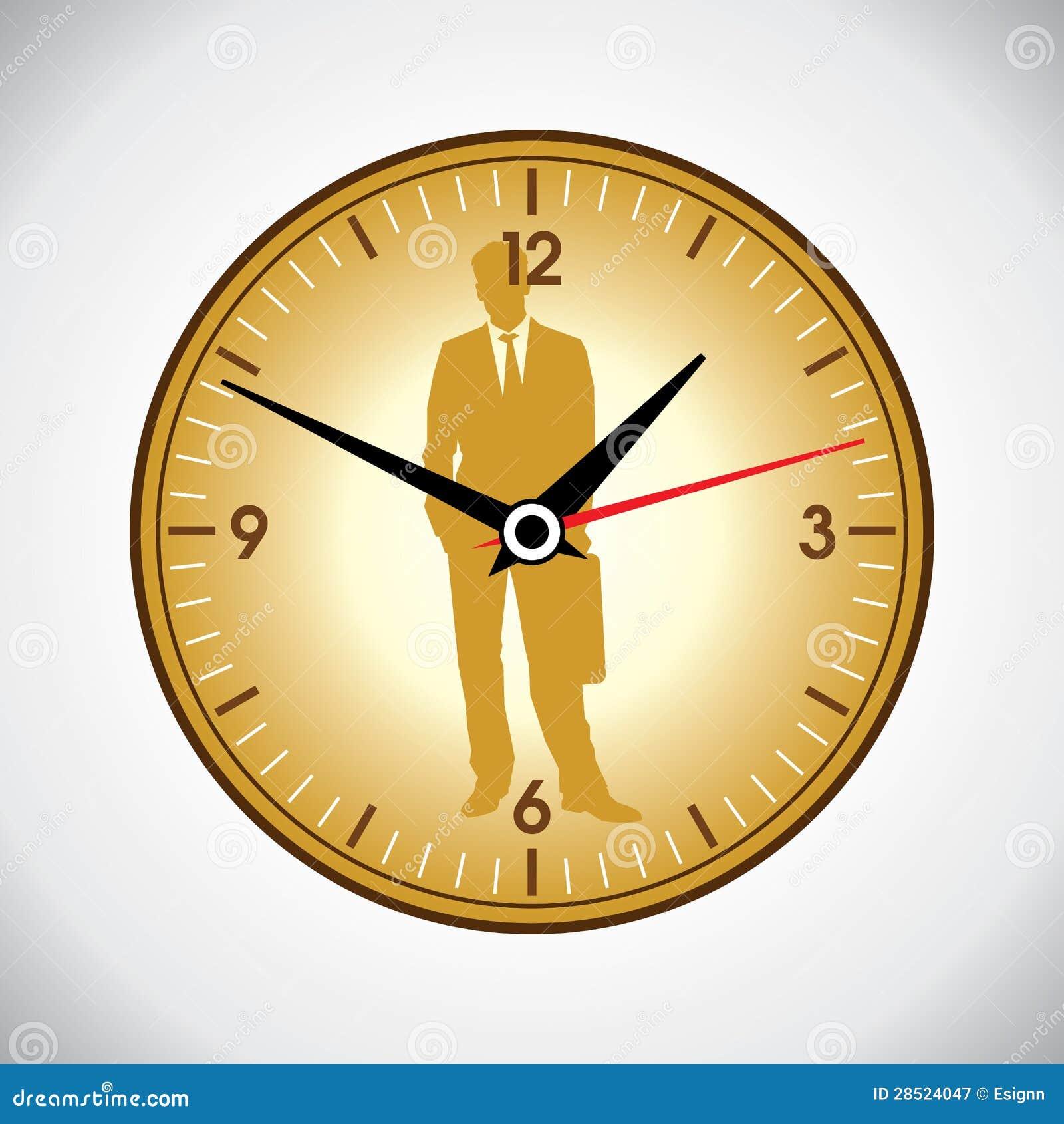 Grandi orologio di parete ed uomo gialli di affari