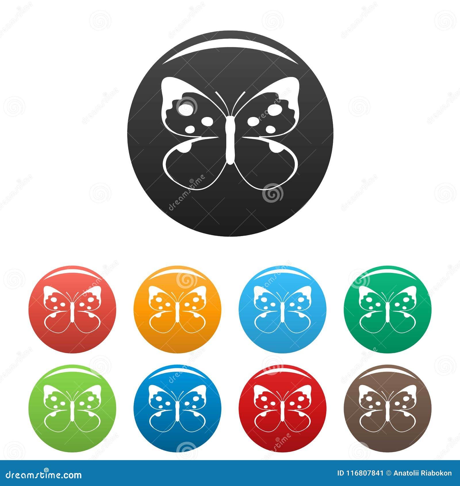 Grandi vettore di colore fissato della farfalla icone