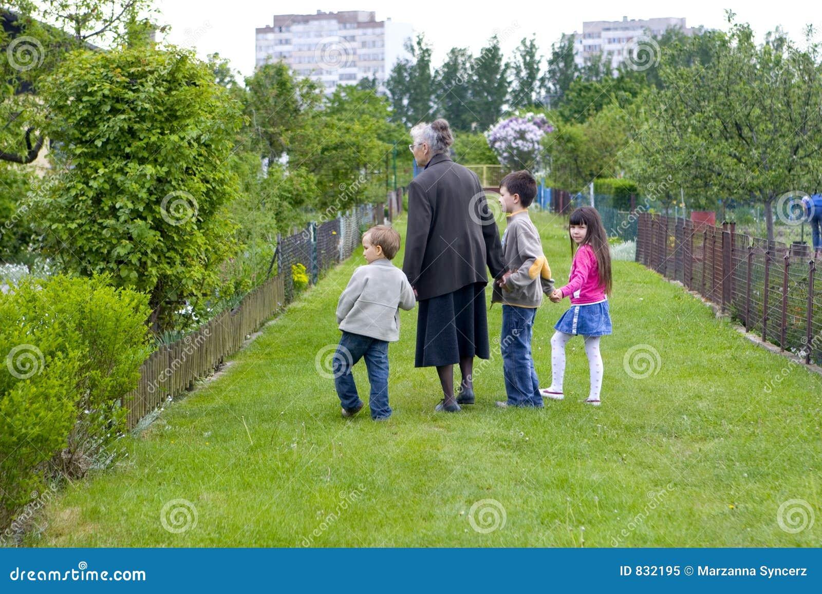 Grandma with children