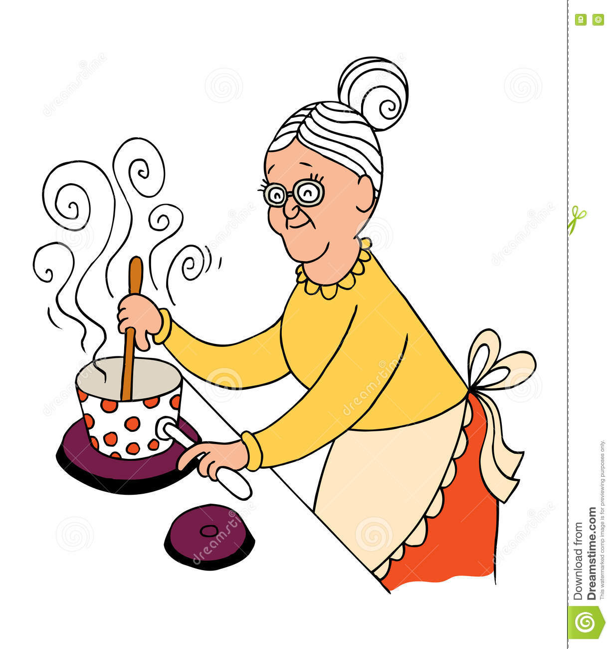 Grandma cooking stock vector. Illustration of grandmother ...