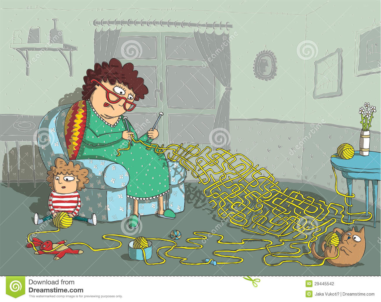 Grandma Crochet Maze Game Stock Photography Image 29445542