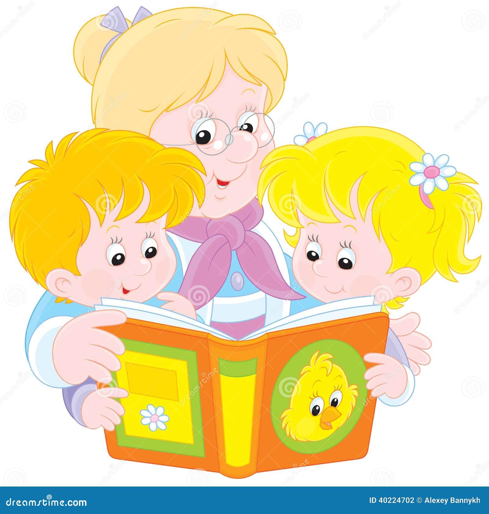 Grandma And Grandchildren Read Stock Vector - Image: 40224702