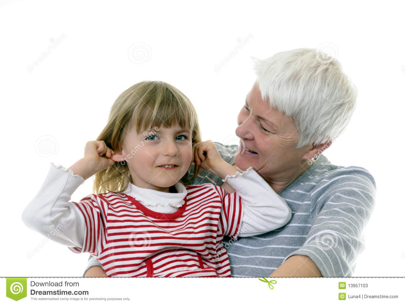 White haired grandma and granddaughter.