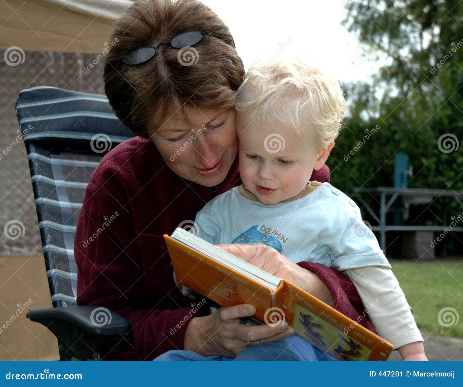 Grandma Reading Book Stock Image Image Of Generation