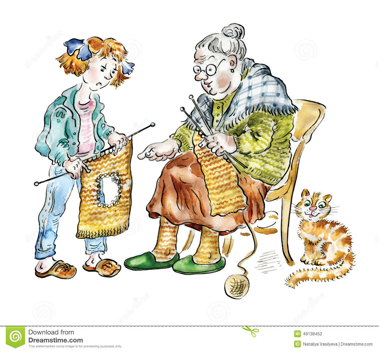 Knitting Granny Clipart : Grandma teaching her granddaughter knitting stock