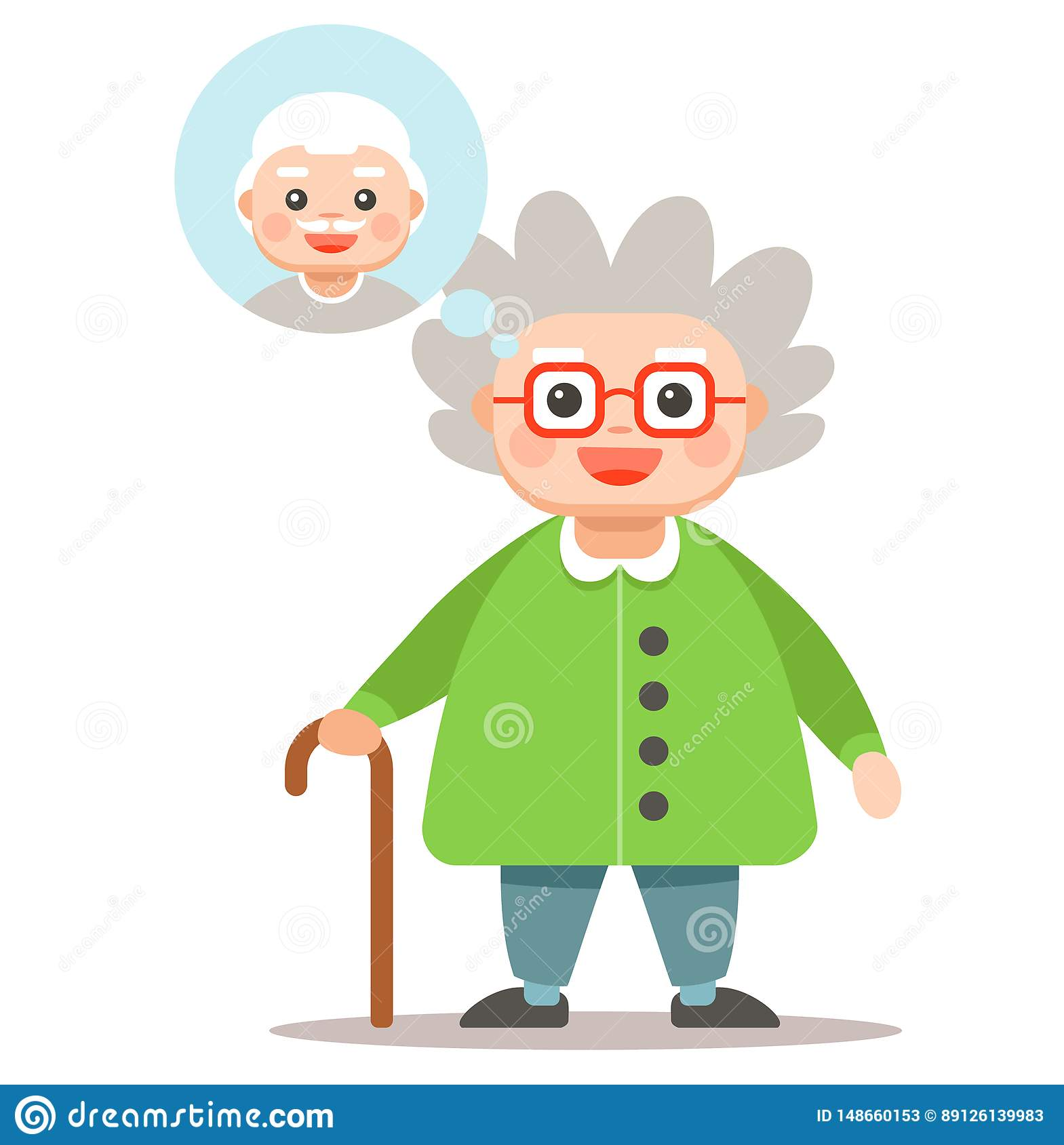 Grandma thinks about her man. cute gray woman with a cane.