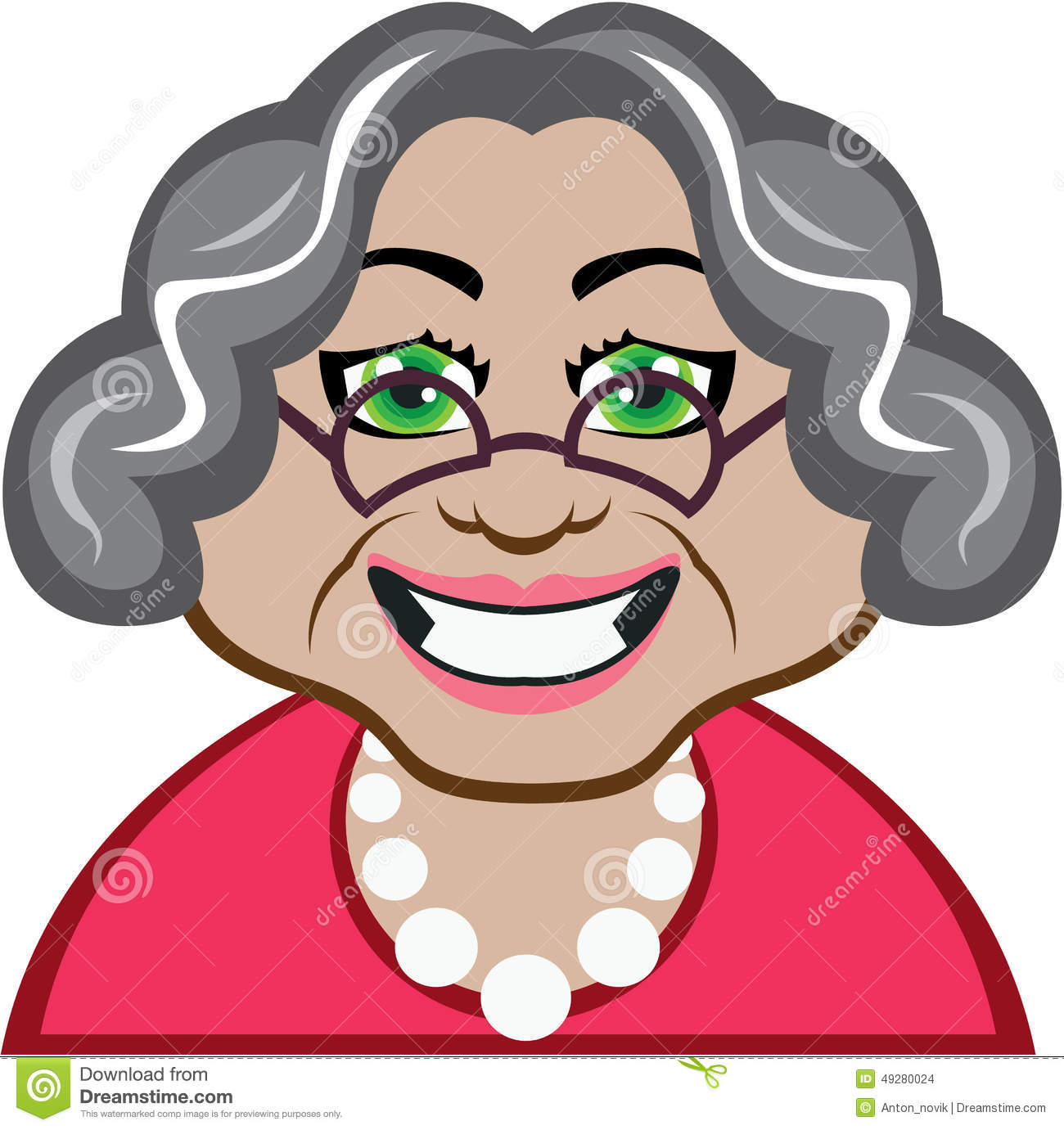 Stock illustrations senior citizen lady with a sign stock clipart - Grandma Vector Stock Vector Image 49280024