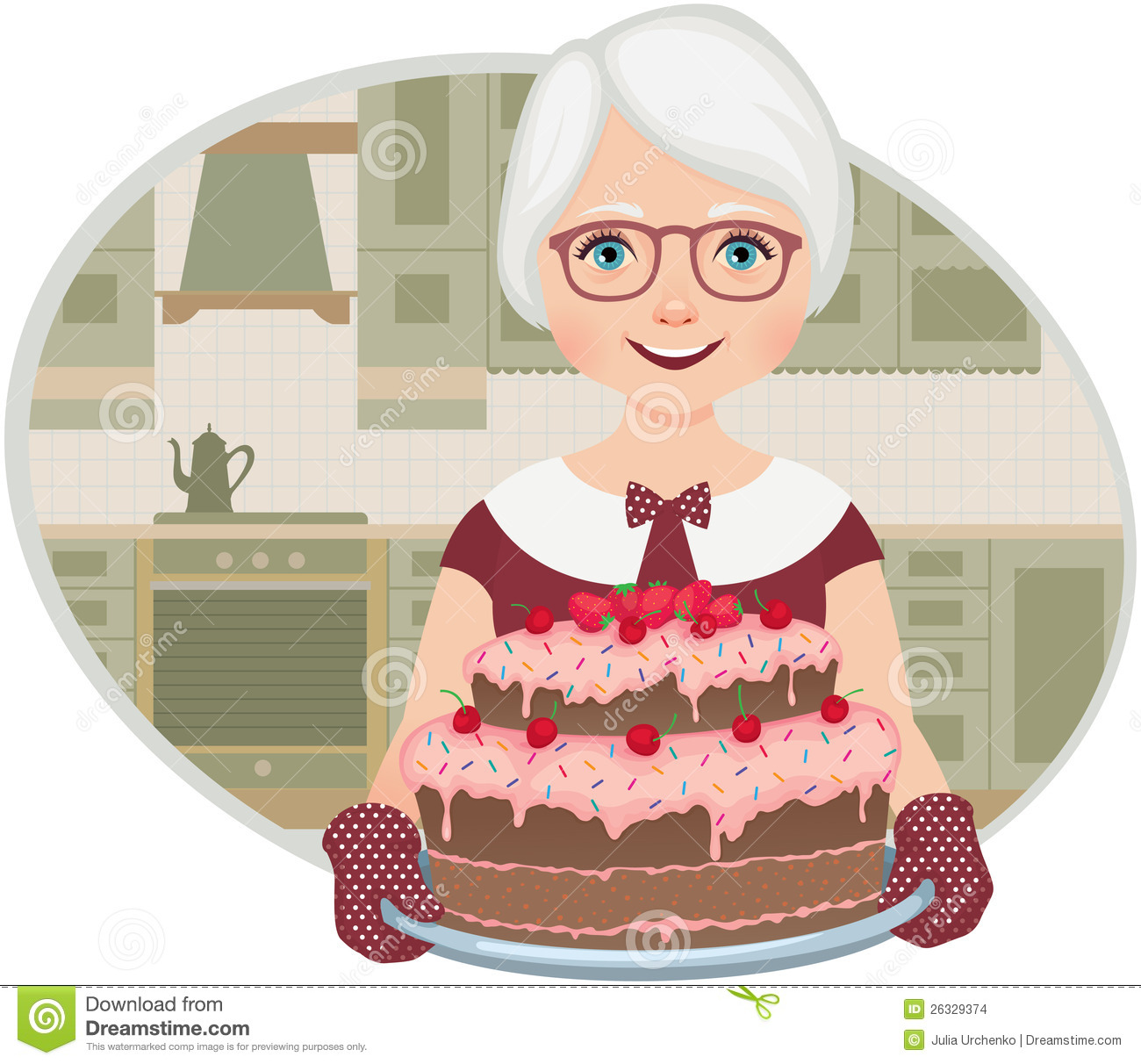 Grandmother Baked A Cake Stock Vector Illustration Of