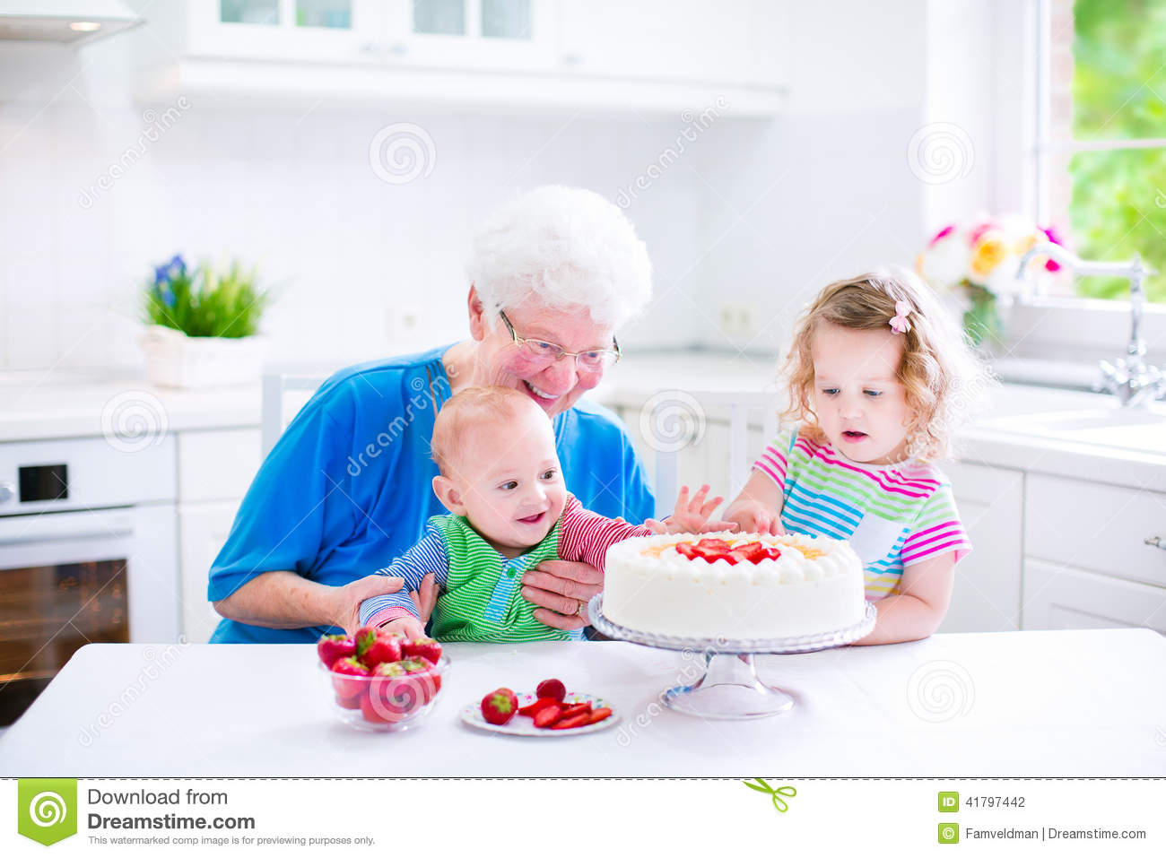 grandmother baking cake kids happy senior lady loving homemade strawberry two children cute laughing baby boy adorable 41797442 birthday cake for toddler girl 6 on birthday cake for toddler girl