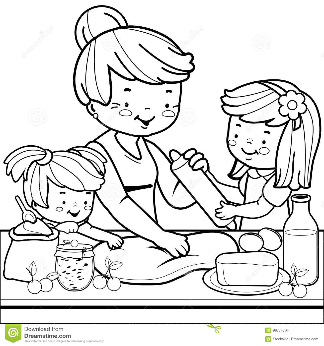 Grandmother And Children Cooking In The Kitchen. Coloring Book Page ...