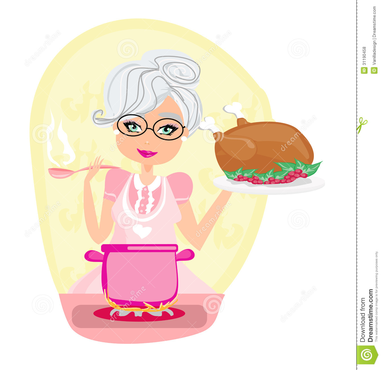 Grandmother Cooking Soup And Serving Chicken Royalty Free
