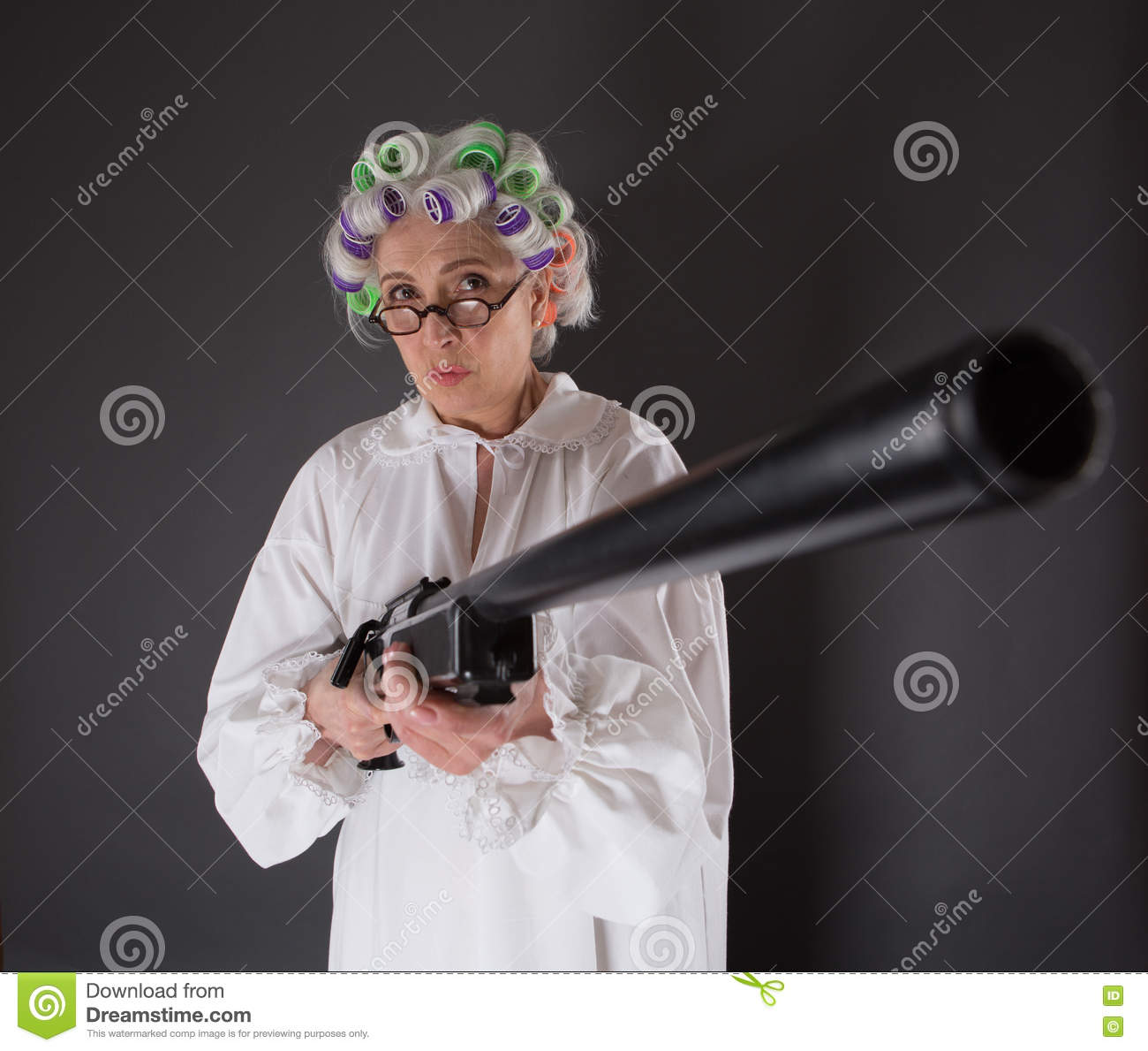 Grandmother In Defence Stock Image. Image Of Weapon