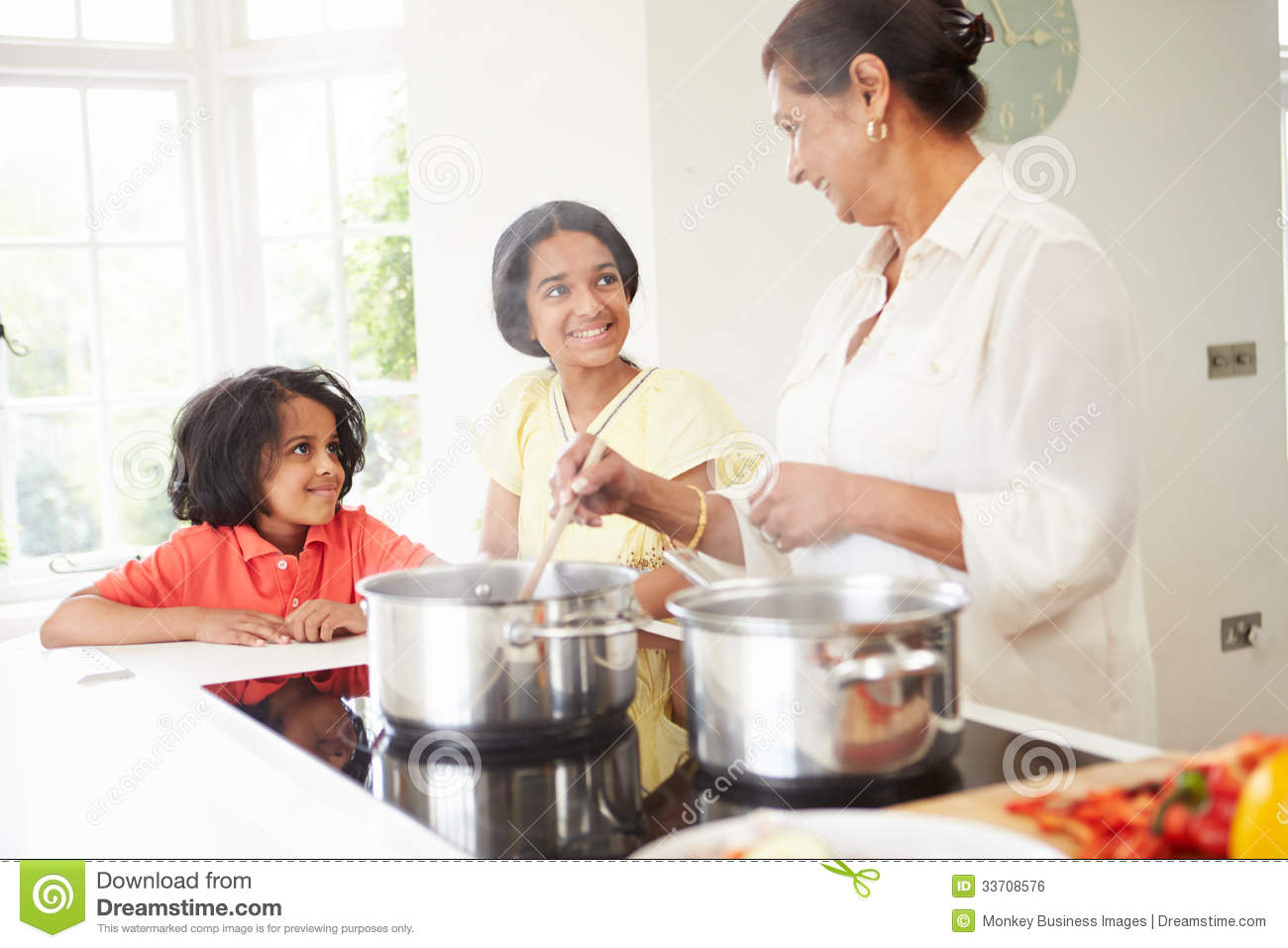 Children Cooking With Grandmother Stock Image - Image of flour ...