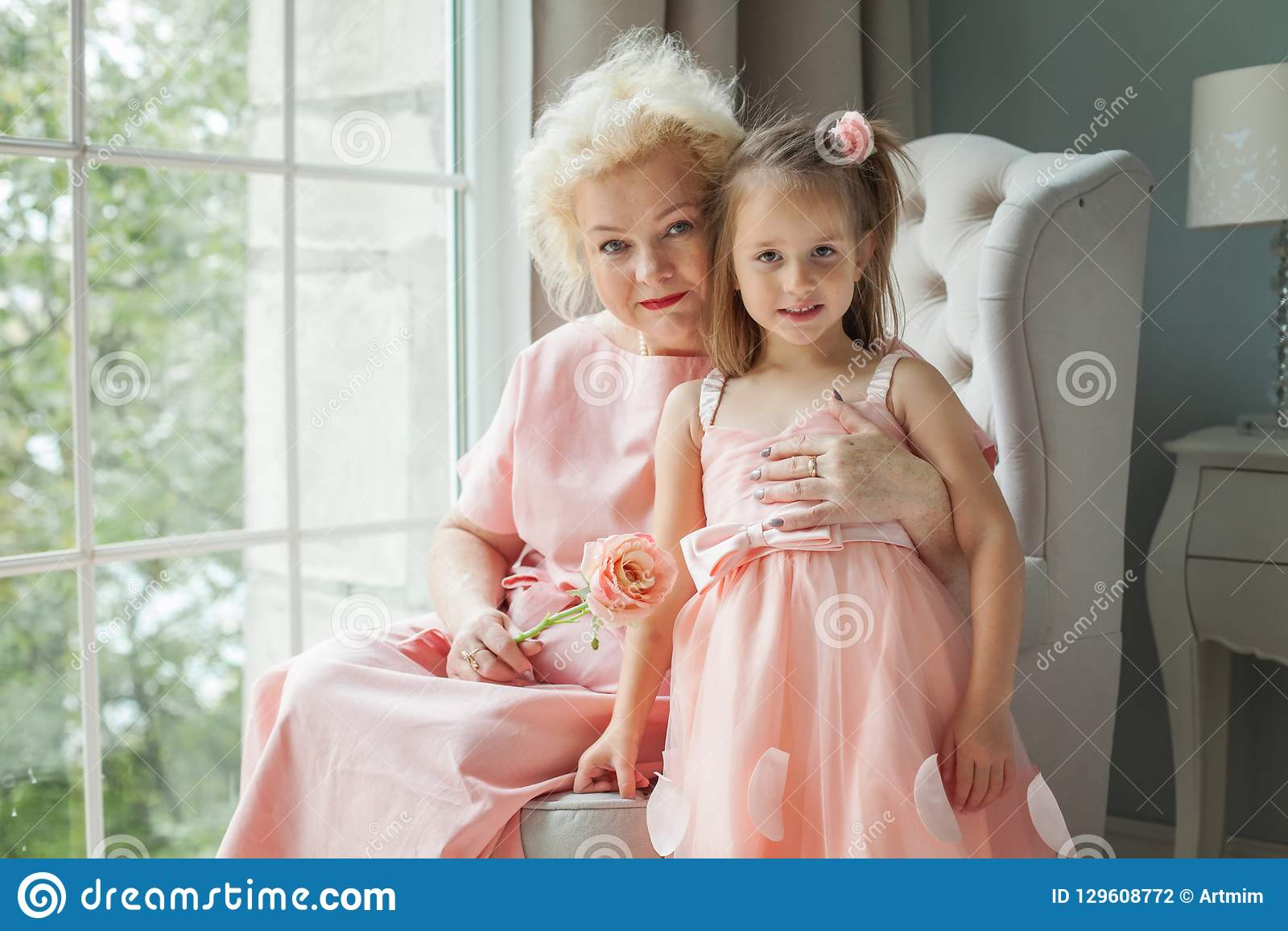 Older woman and girl