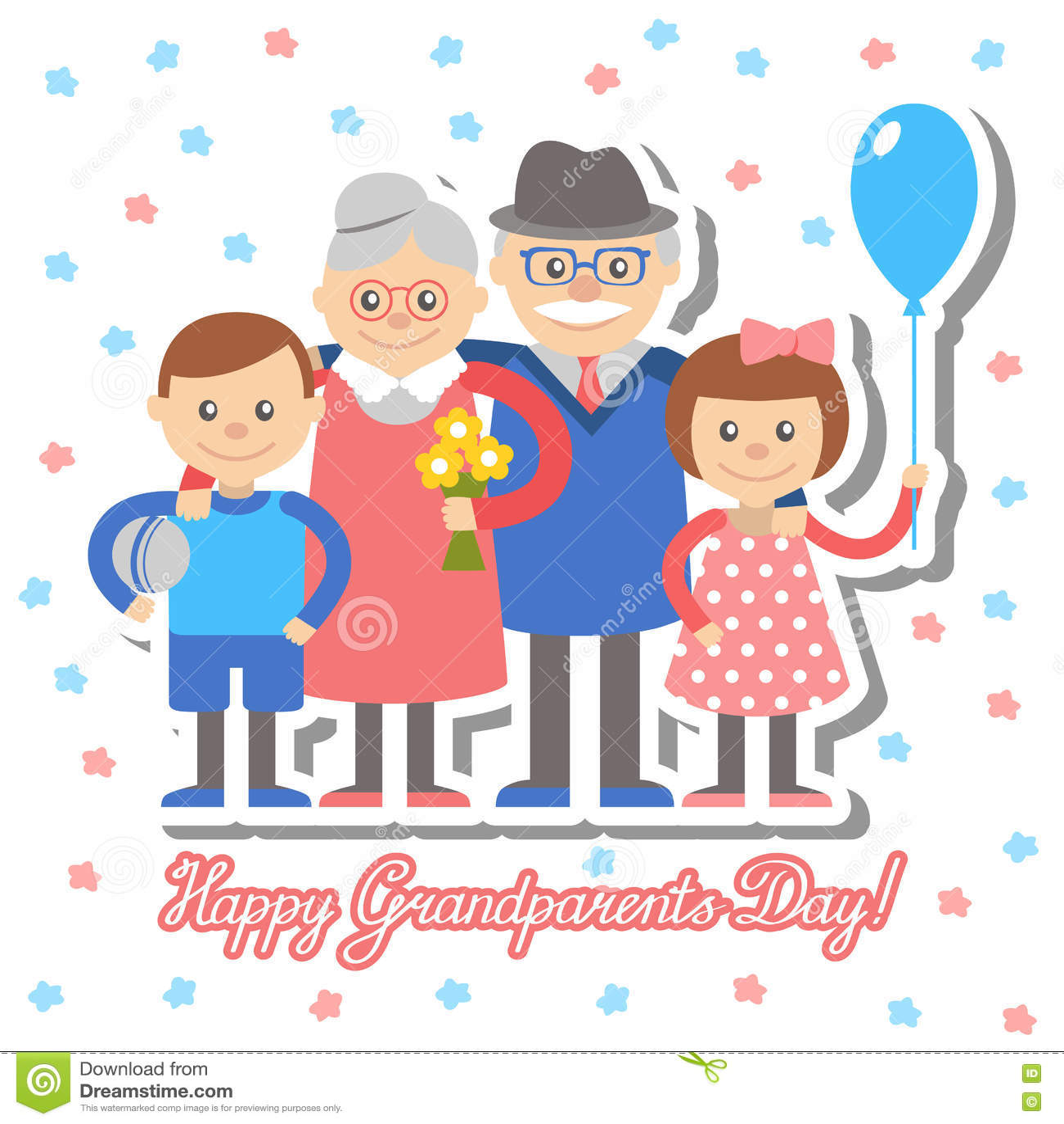 Grandmother and grandfather grandchildren greeting card for download grandmother and grandfather grandchildren greeting card for grandparents day vector illustration stock vector m4hsunfo