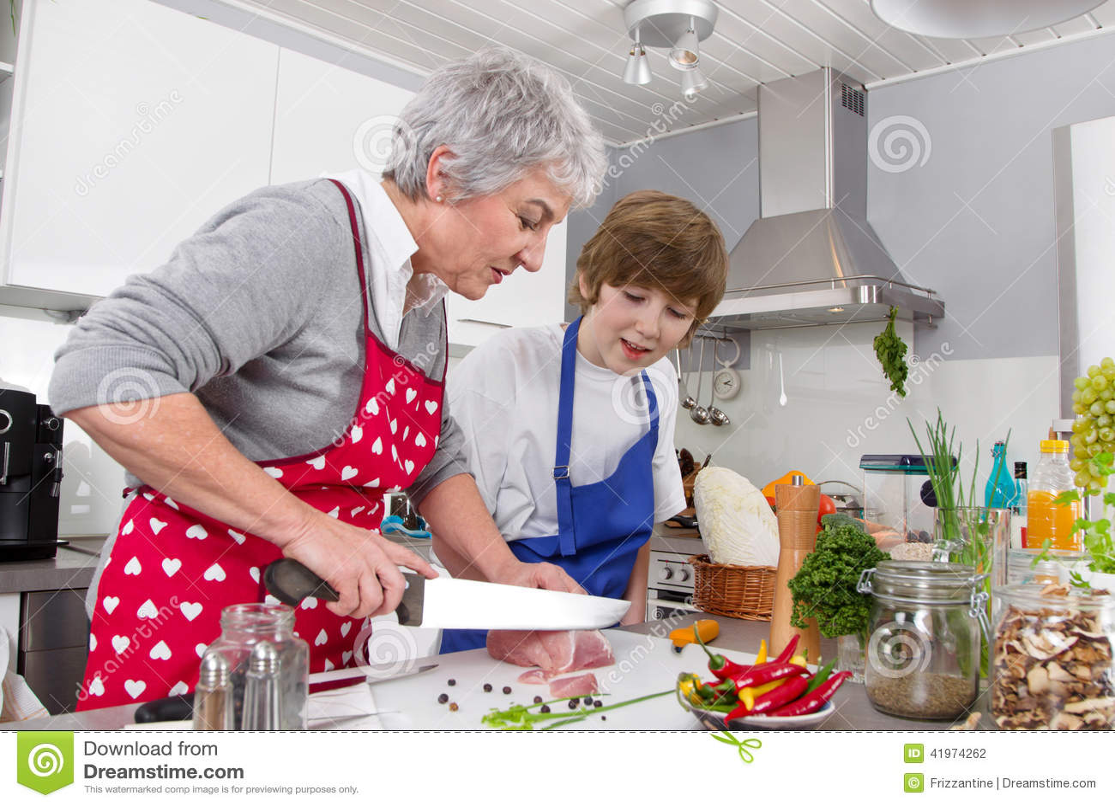 Kitchen Table Family Preparing Fresh Food