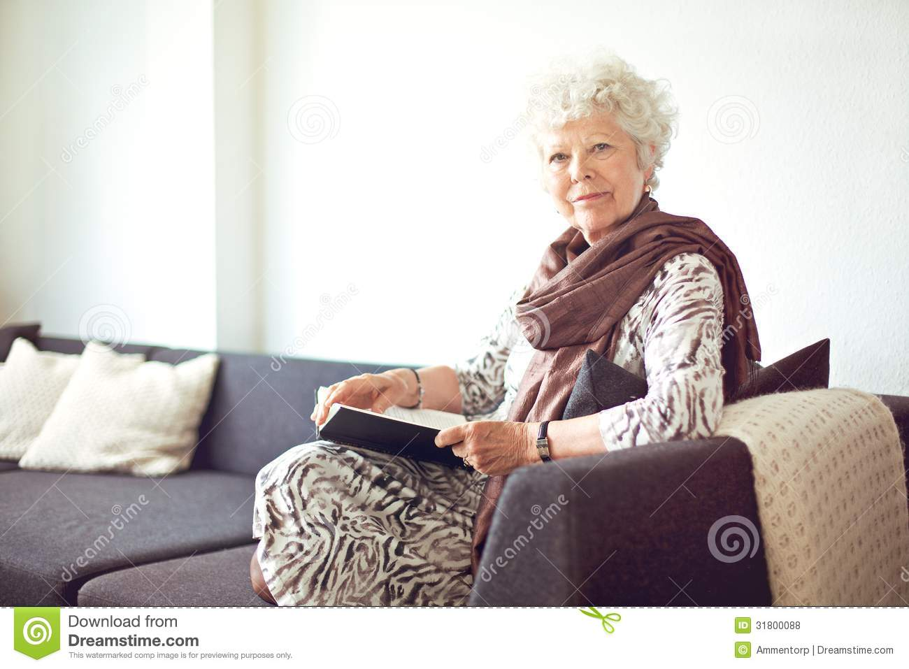 Grandmother At Home Sitting On The Couch Stock Photo  : grandmother home sitting couch relaxed 31800088 from www.dreamstime.com size 1300 x 957 jpeg 103kB