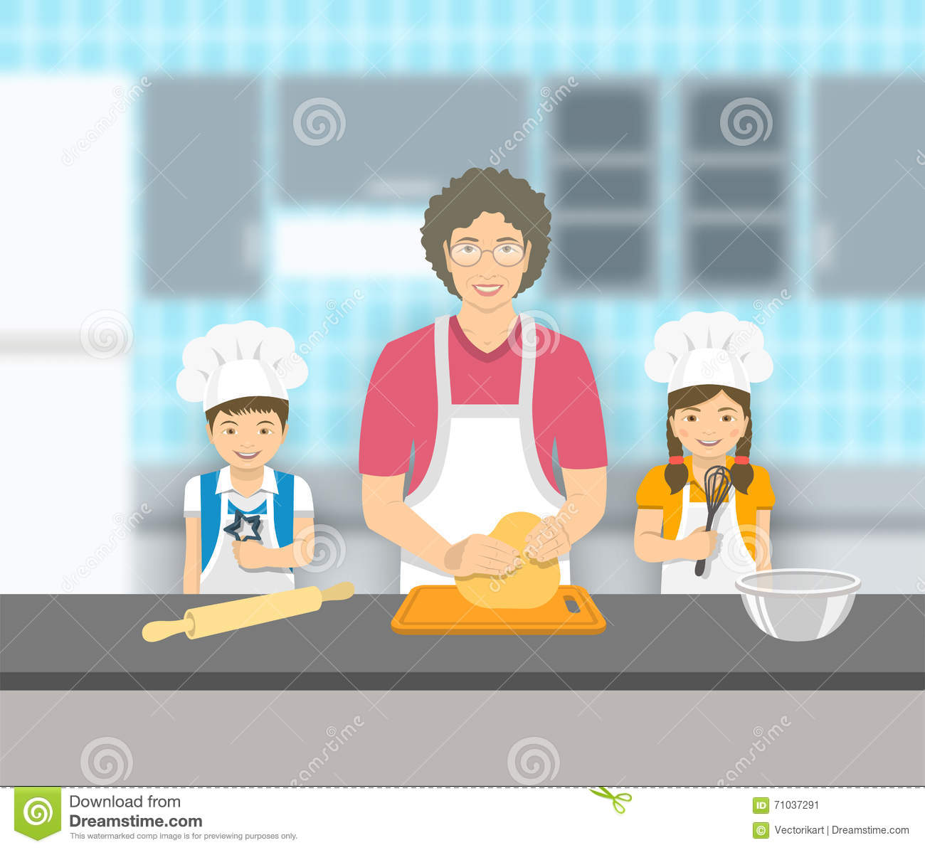 Grandmother And Kids Bake Together At A Kitchen Stock Vector ...