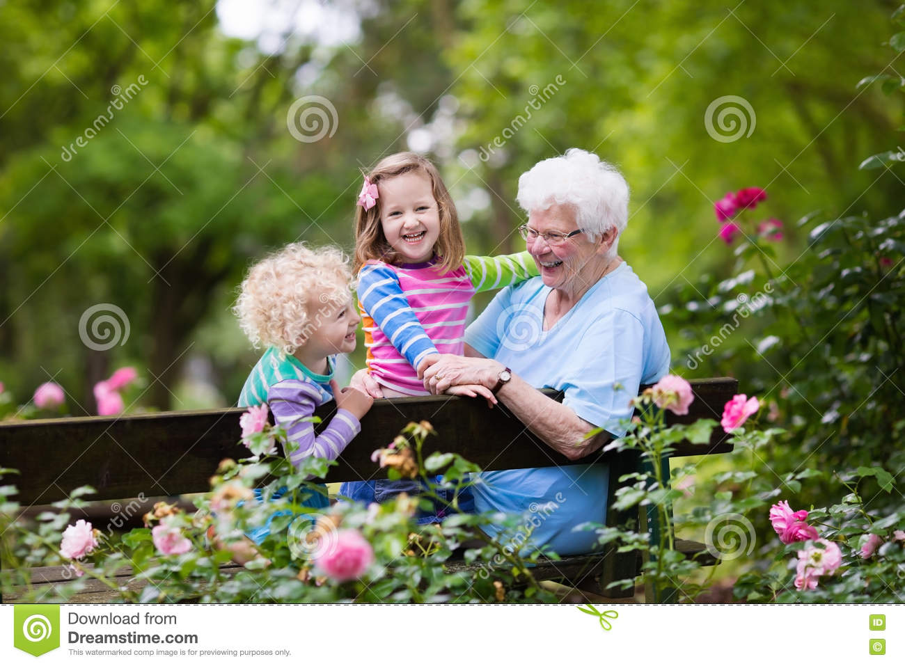 Grandmother And Kids Sitting In Rose Garden Stock Photo