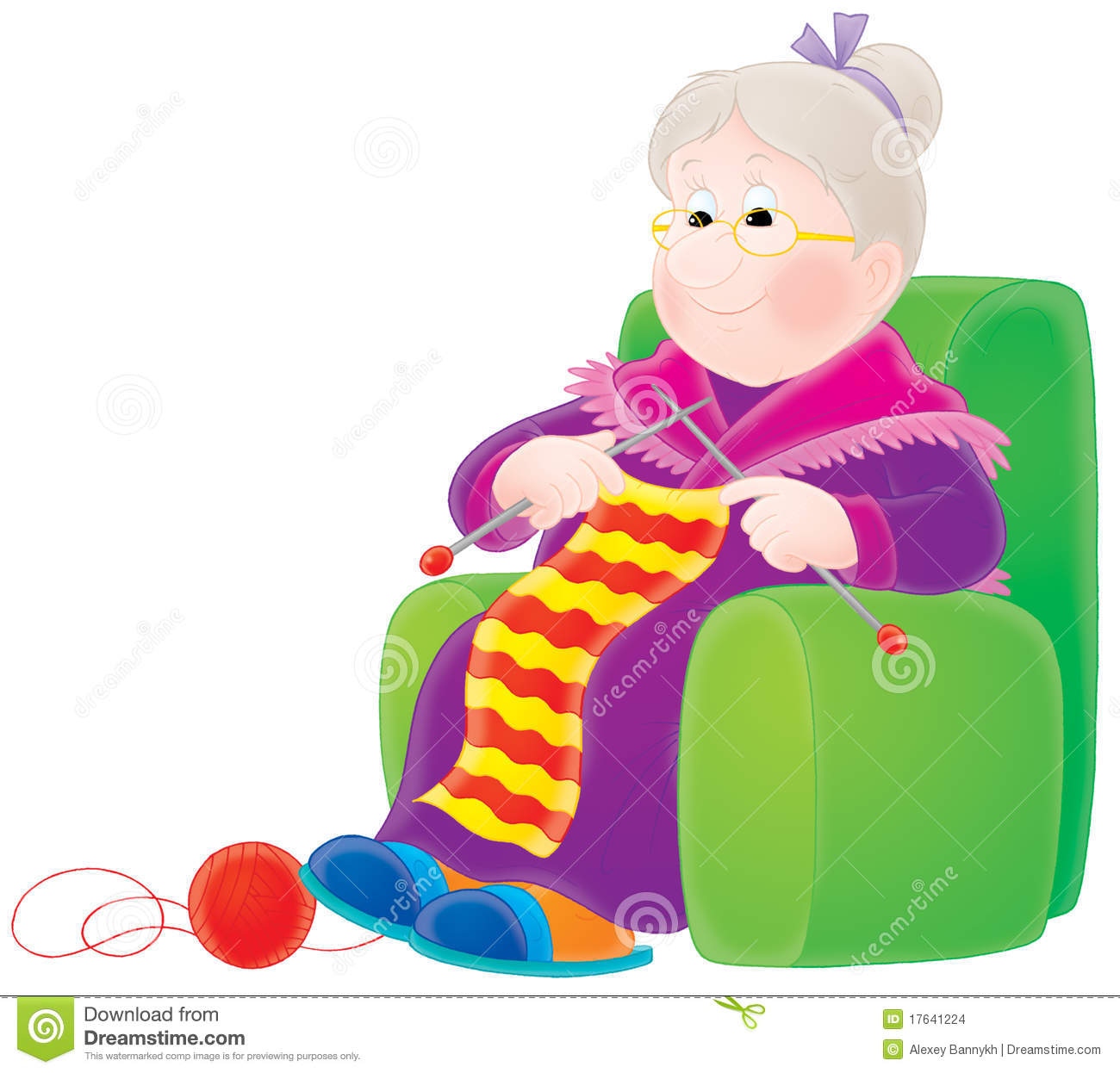 Grandmother Knits A Scarf Stock Images Image 17641224