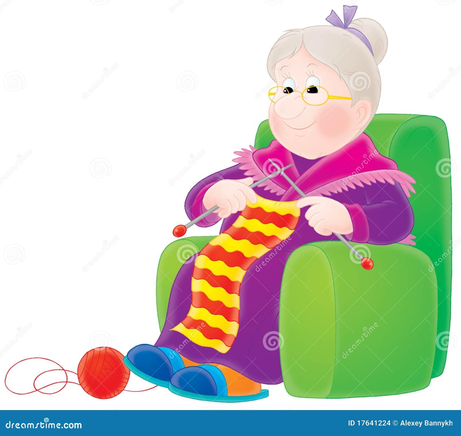 Grandma Knitting Cartoon : Grandmother knits a scarf stock illustration