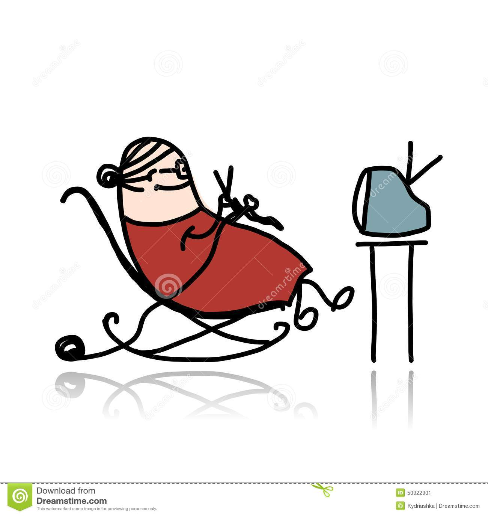 Grandma Knitting Cartoon : Grandmother knitting in armchair and watching tv stock