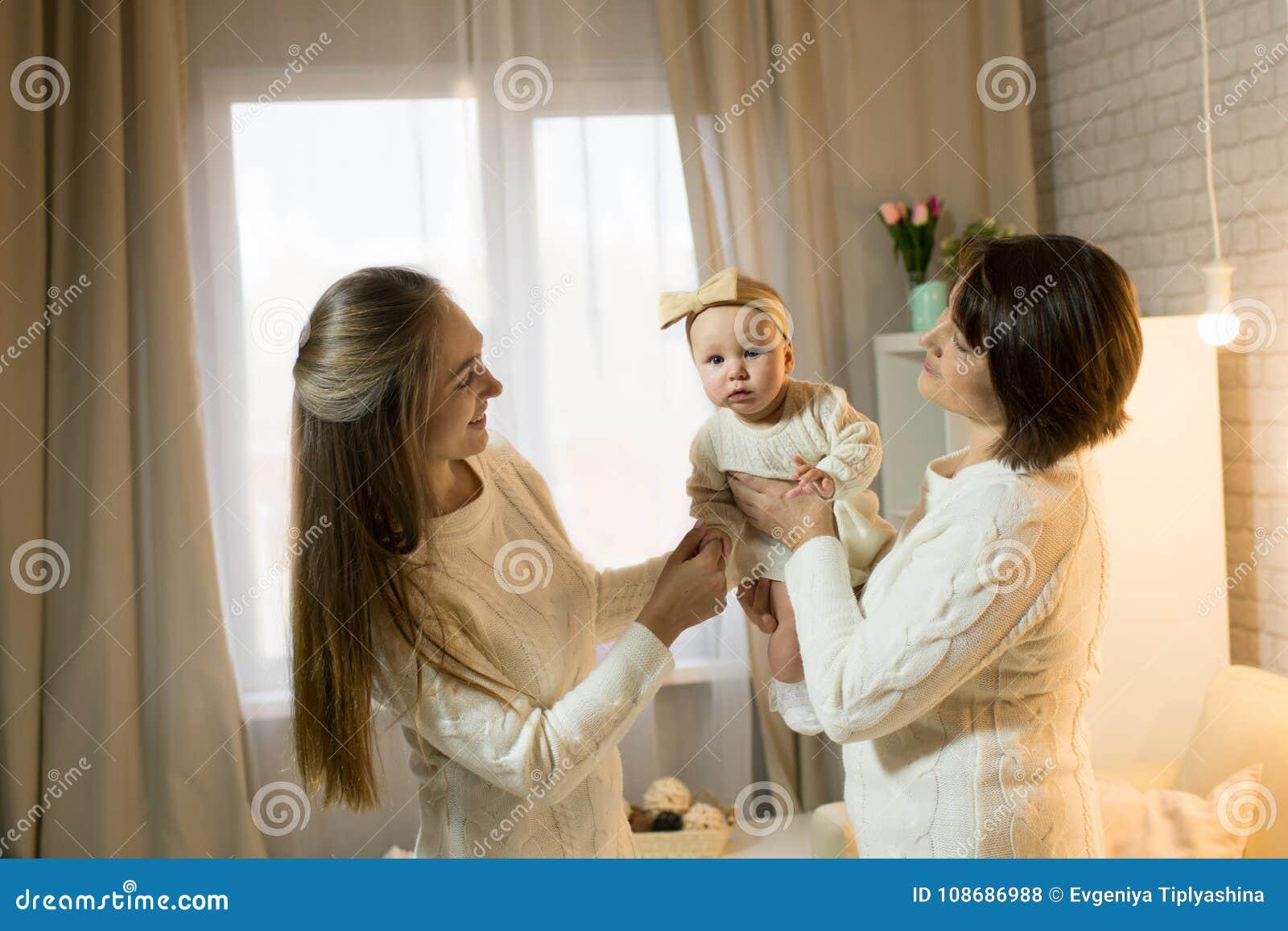 Grandmother mum and granddaughter