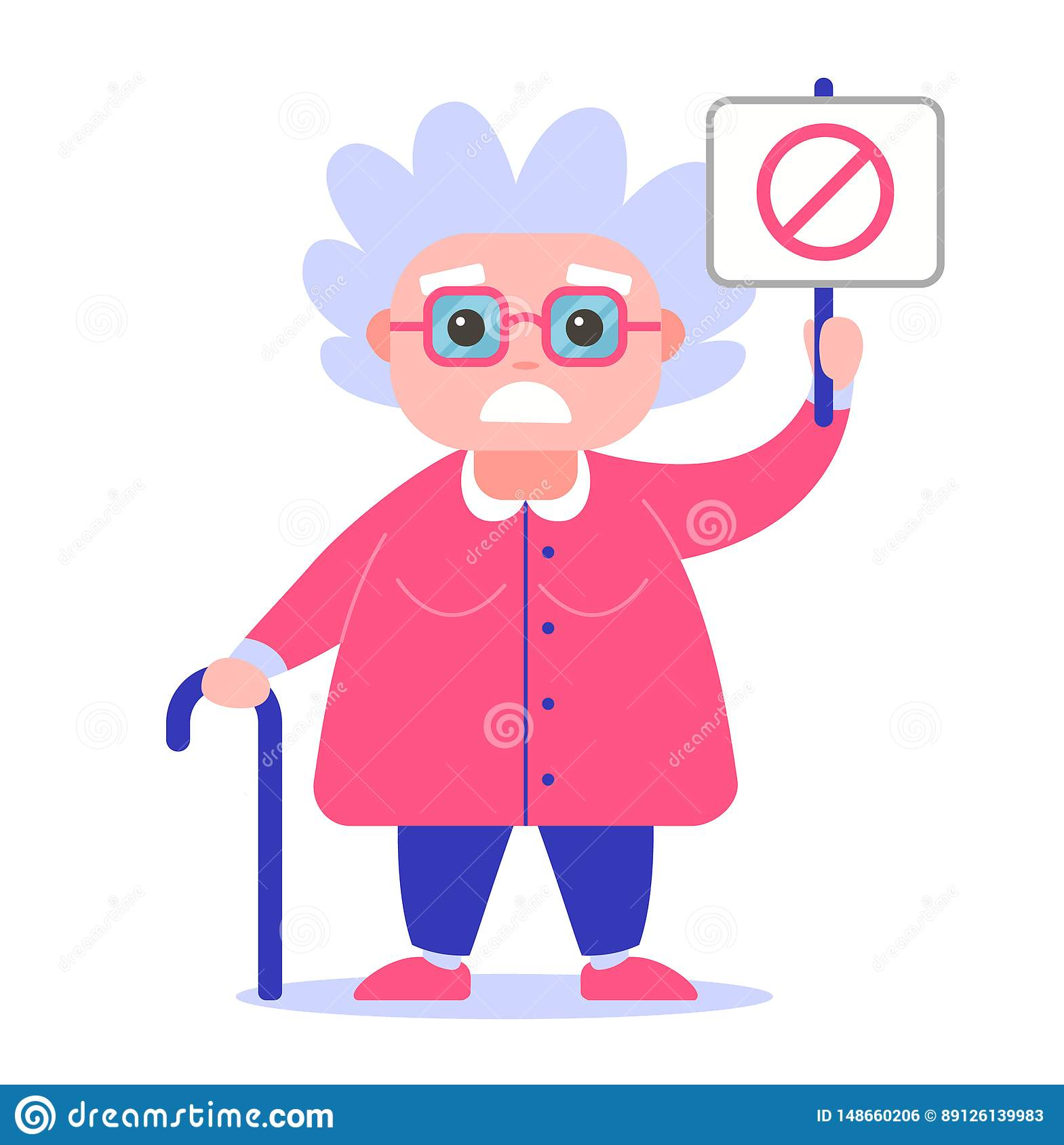 Grandmother with a poster against. in a bad mood.