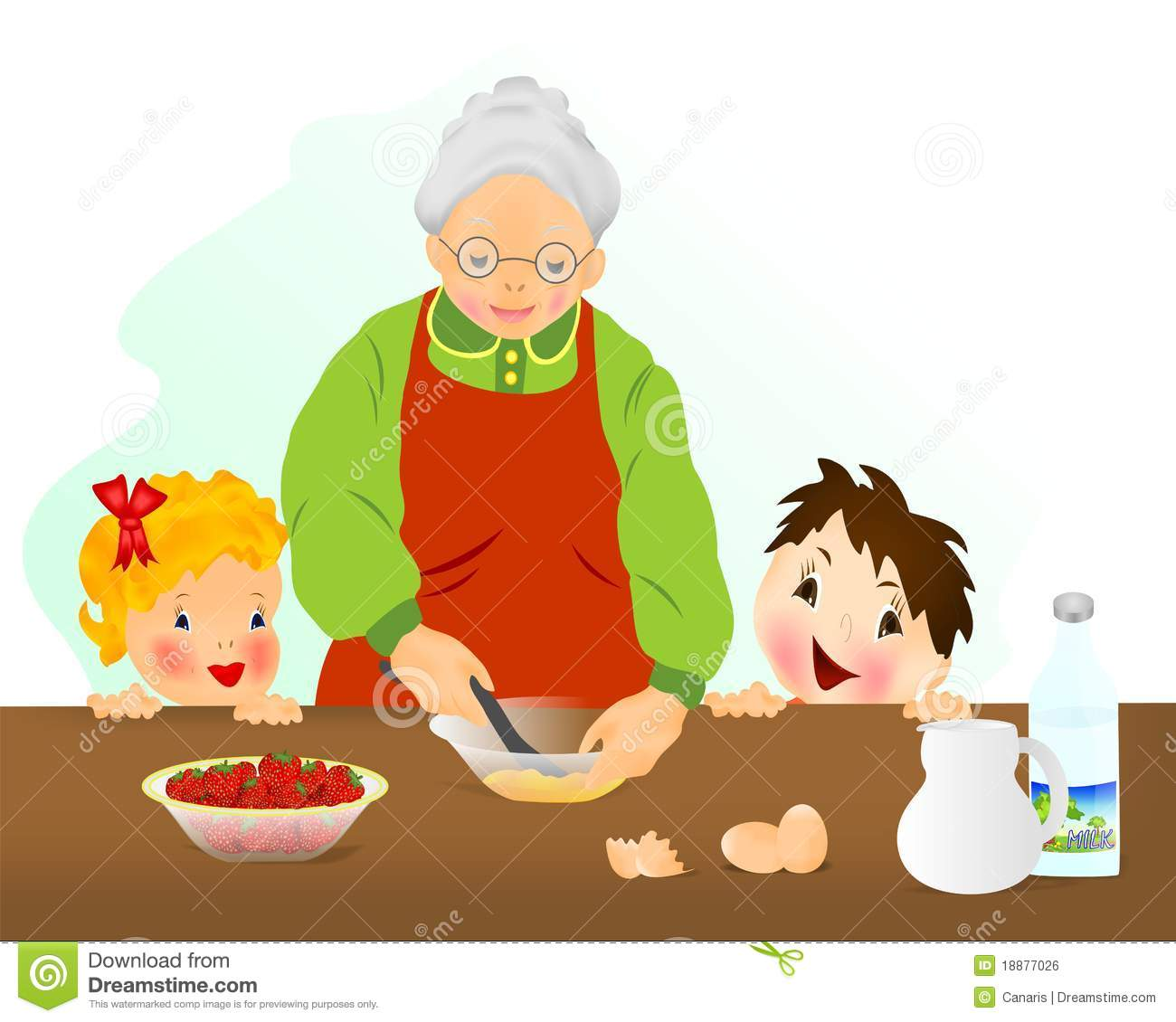 Grandmother Preparing Cake, Cdr Vector Royalty Free Stock ...