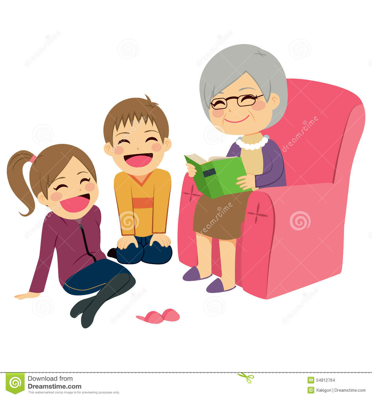 Grandmother Reading Story stock vector. Illustration of cute ...
