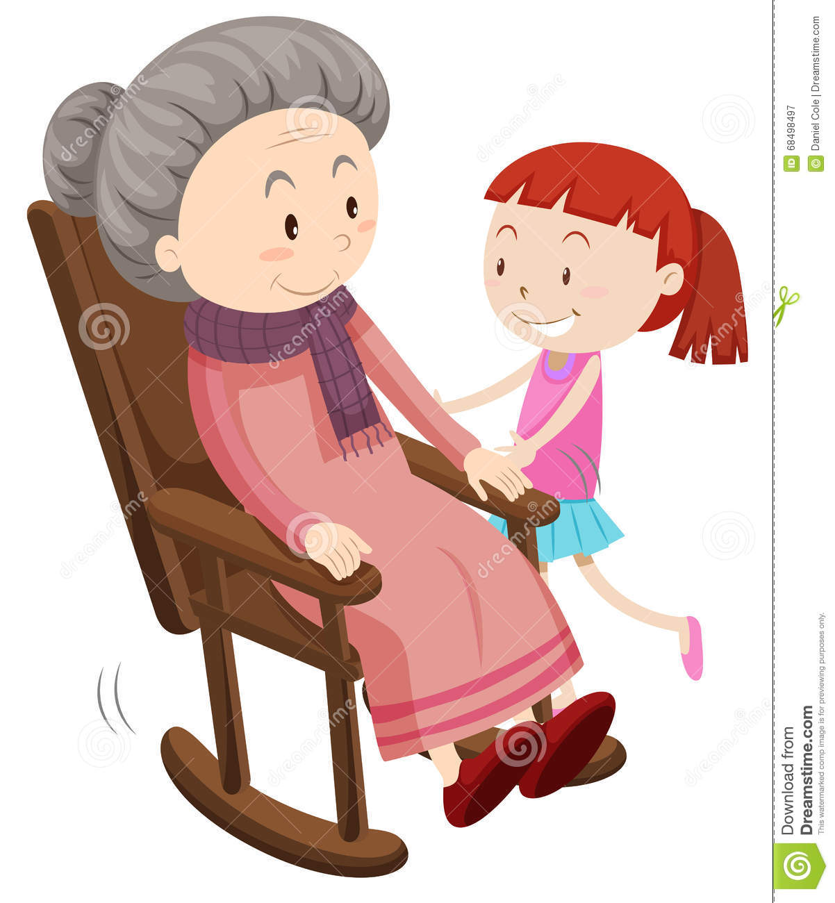 grandmother on the rocking chair and girl stock vector image 68498497. Black Bedroom Furniture Sets. Home Design Ideas