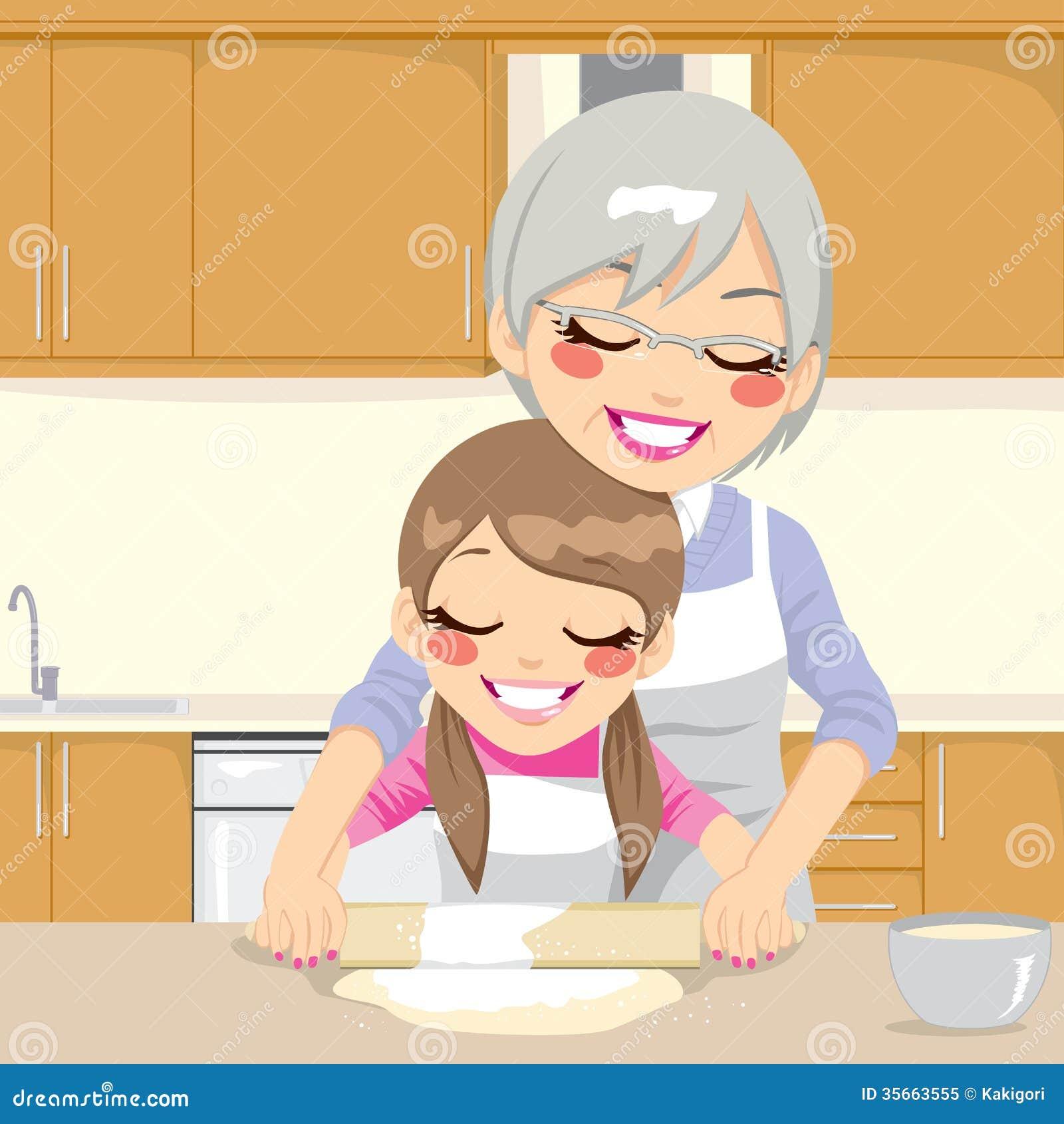 Grandmother Teaching Granddaughter Make Pizza Stock Vector ...