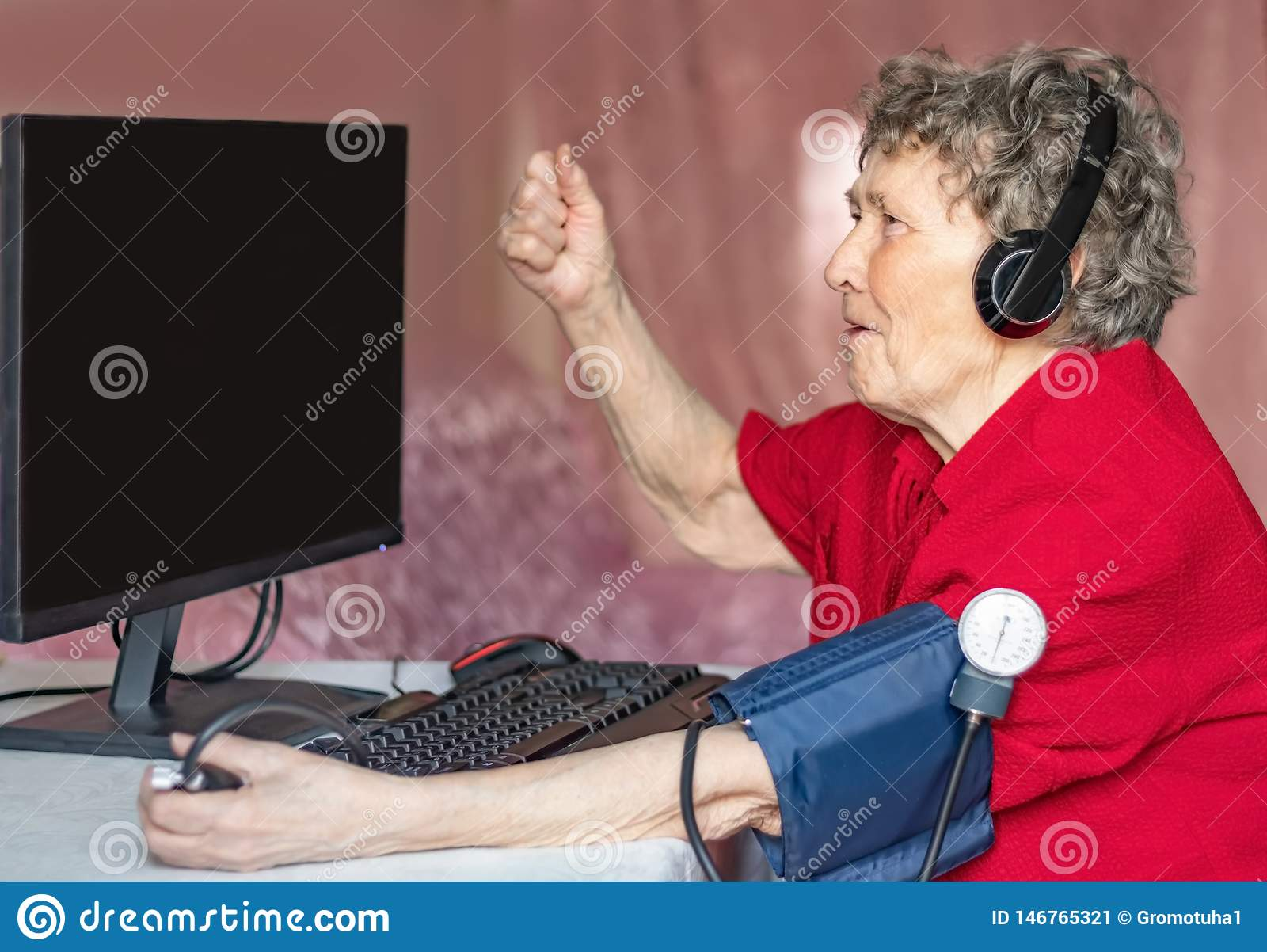 Grandmothers in the modern world of high technology. Grandmothers love computer games
