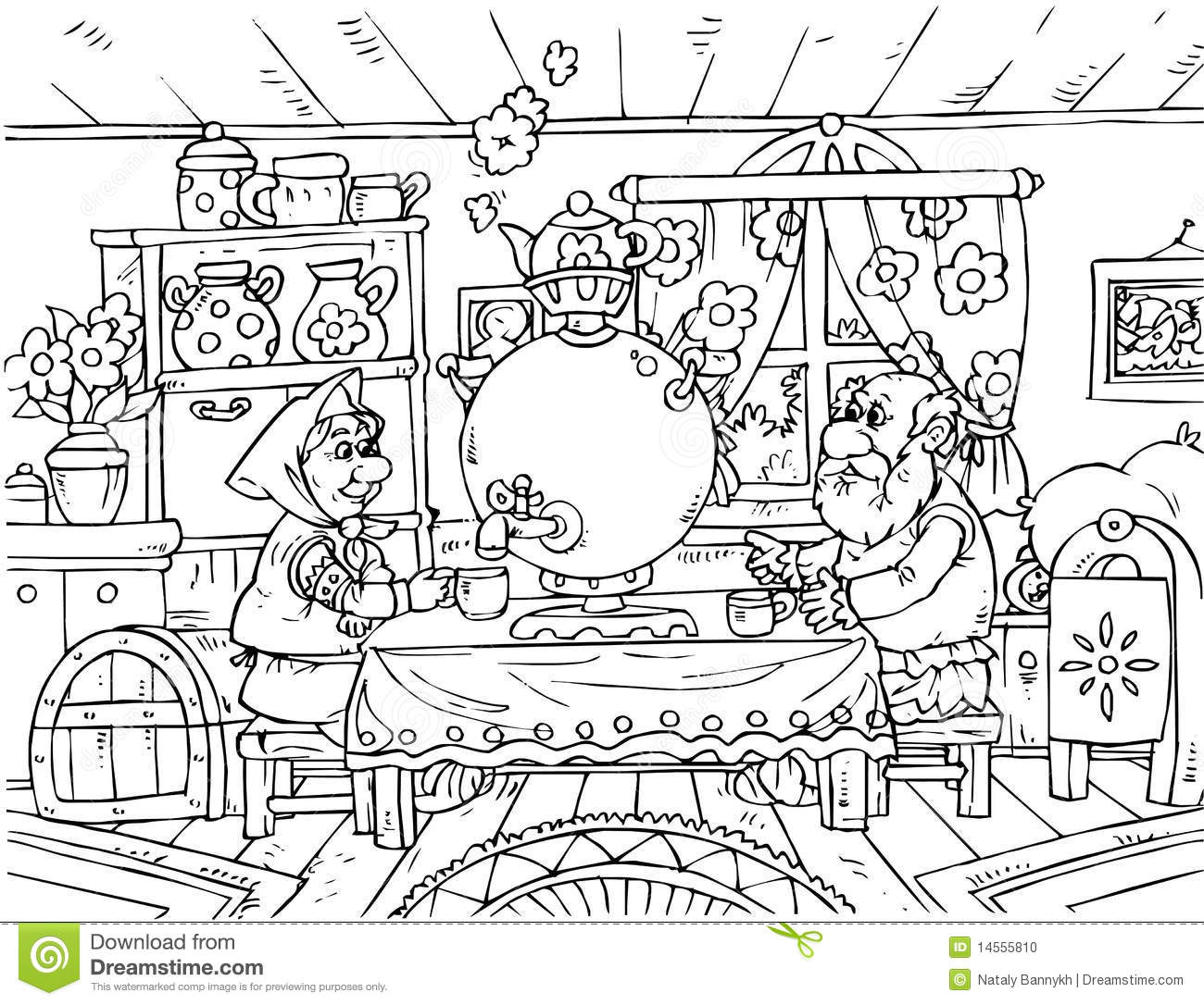 black coloring grandma grandpa illustration nursery page