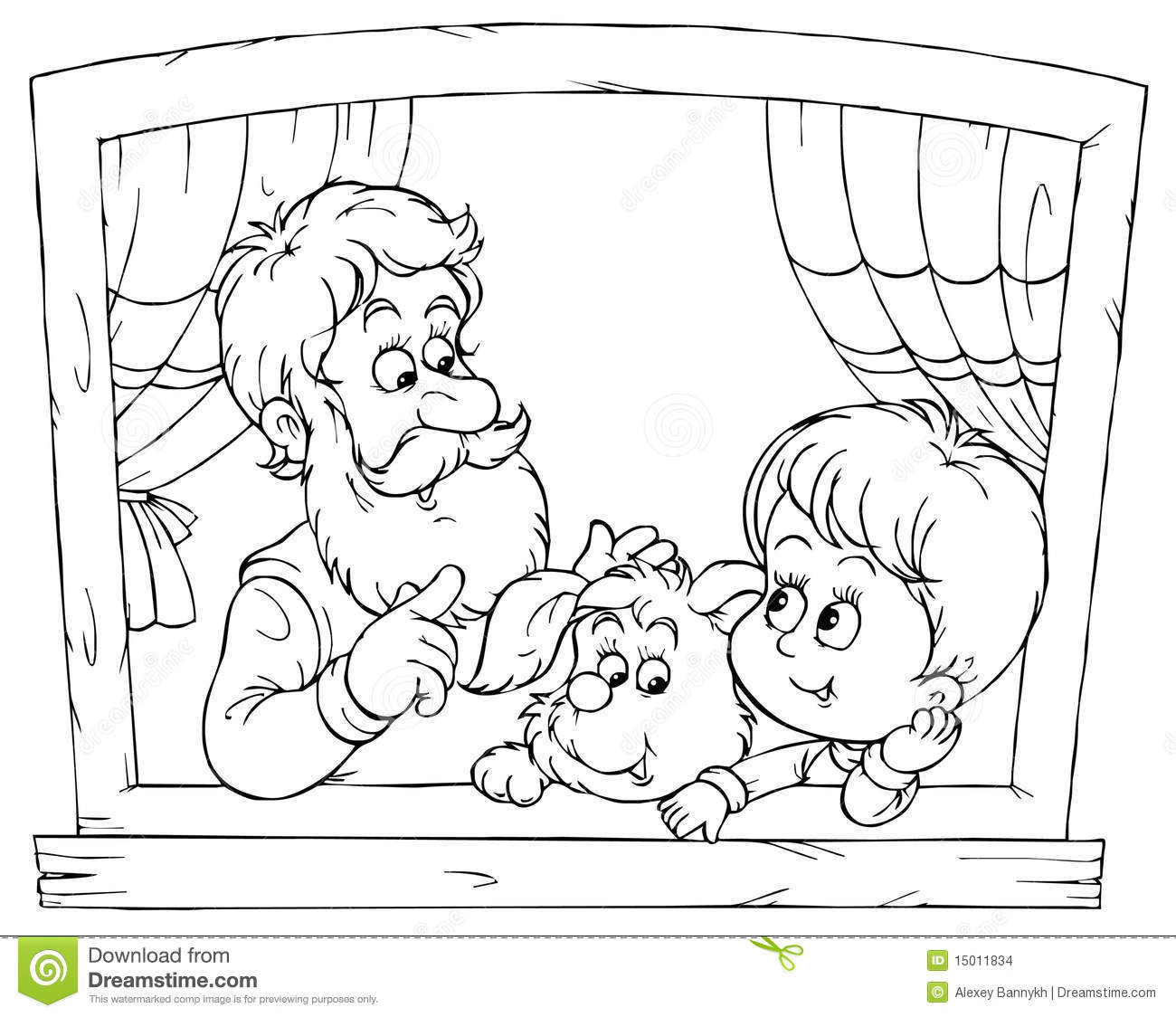Grandpa And Grandson Stock Illustration Image Of Little