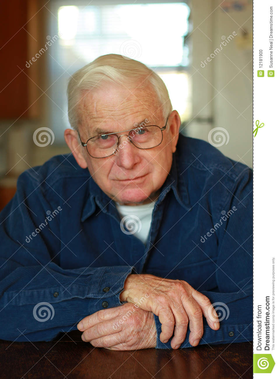 Grandpa Relaxing At Table Stock Photo Image Of