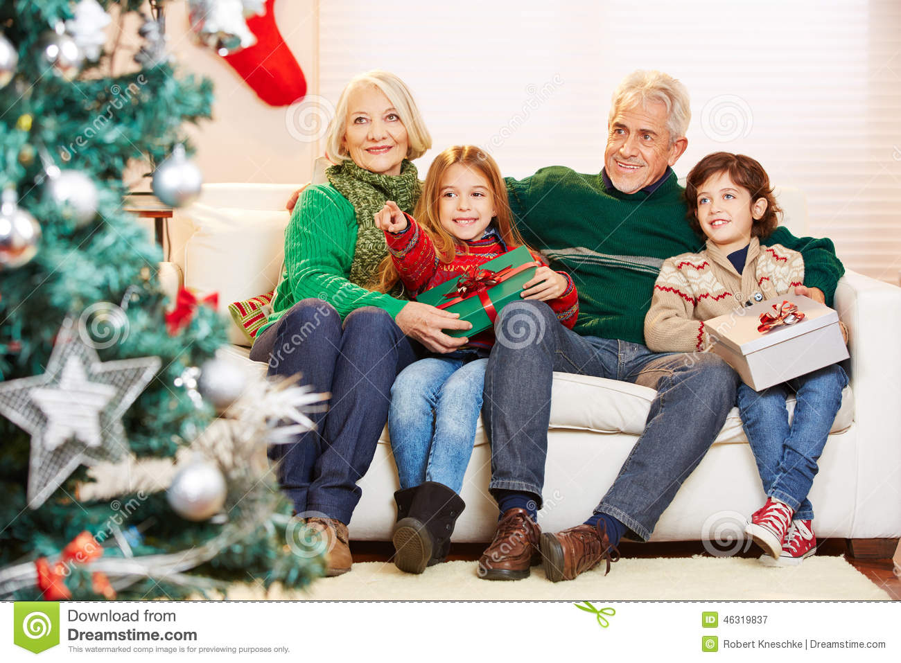 Grandparents Celebrating Christmas With Grandchildren Stock Image ...
