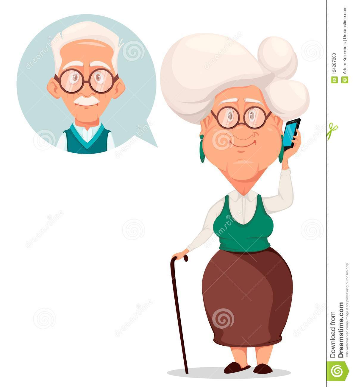 Grandparents day greeting card grandmother calling to grandfather download grandparents day greeting card grandmother calling to grandfather stock vector illustration of characters m4hsunfo
