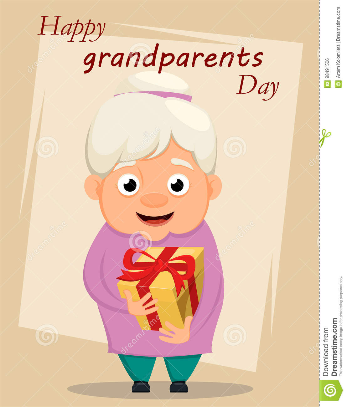 Grandparents Day Greeting Card Grandmother Holding Gift Box Ve