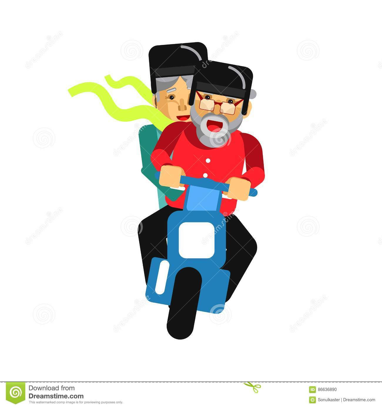 Grandparents driving on motorbike on white. Vector illustration