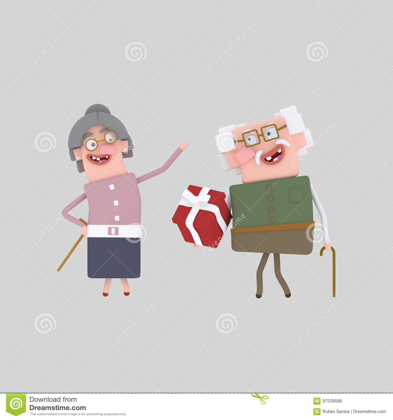 Grandparents with gift. 3D