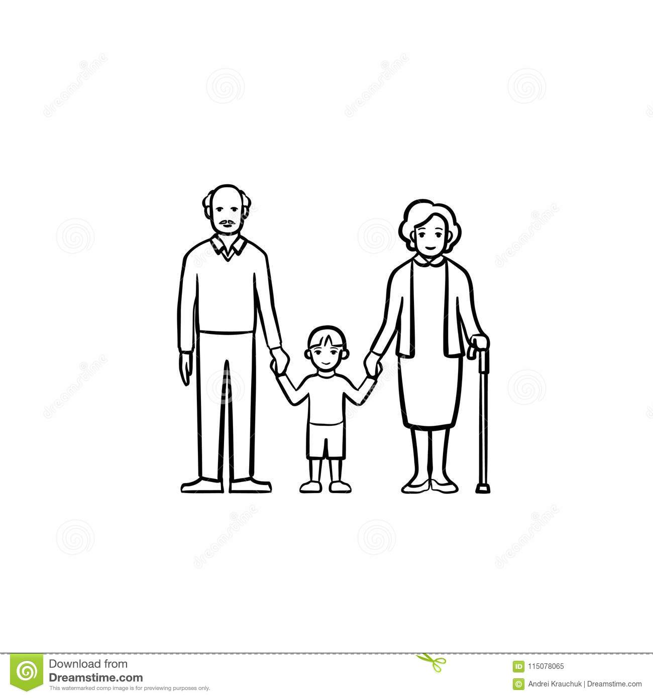 Grandparents and grandson hand drawn sketch icon.