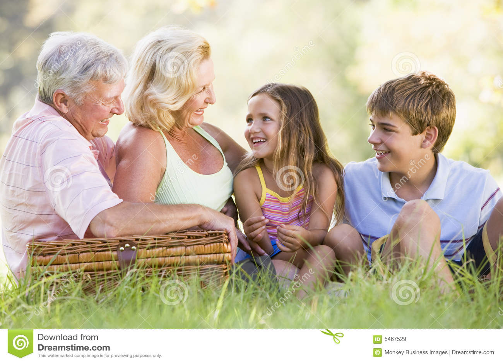 Grandparents having a picnic with grandchildren