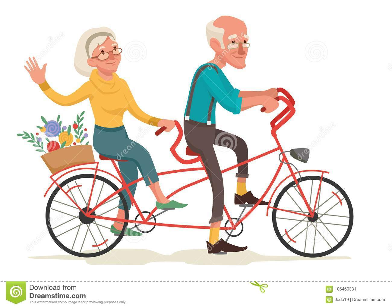 Grandparents are riding a bike