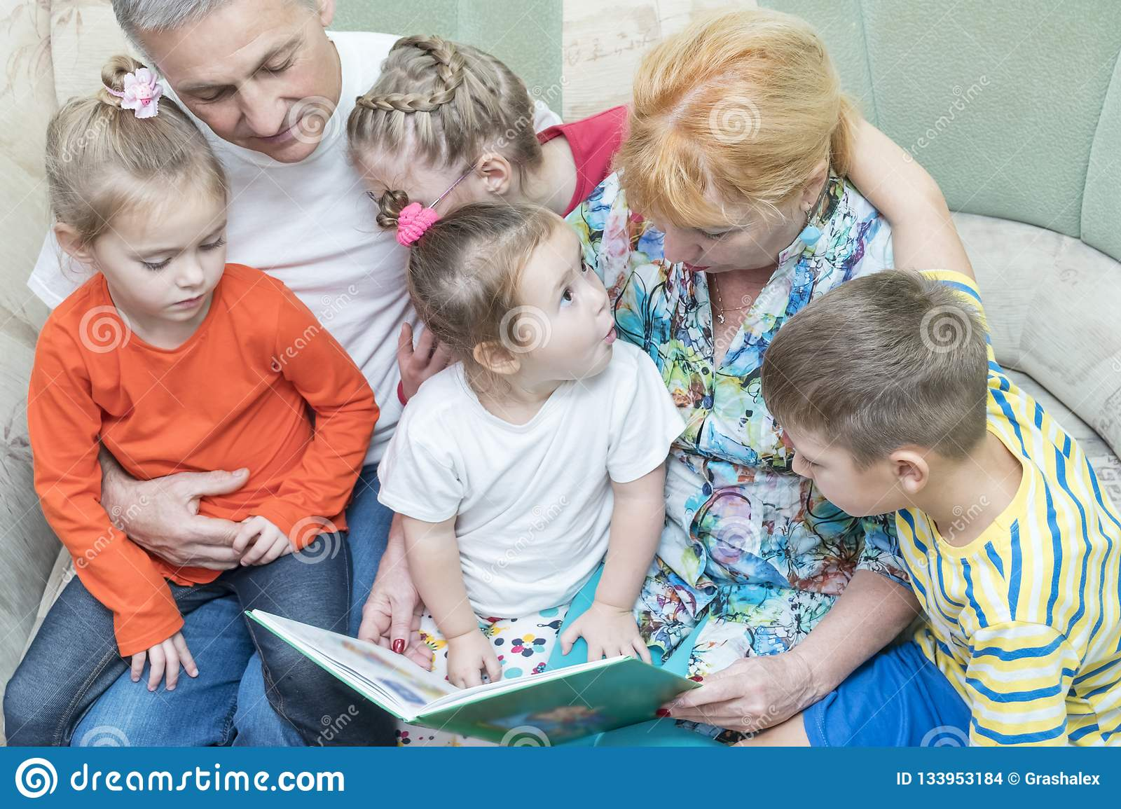 Grandparents teach grandchildren to read