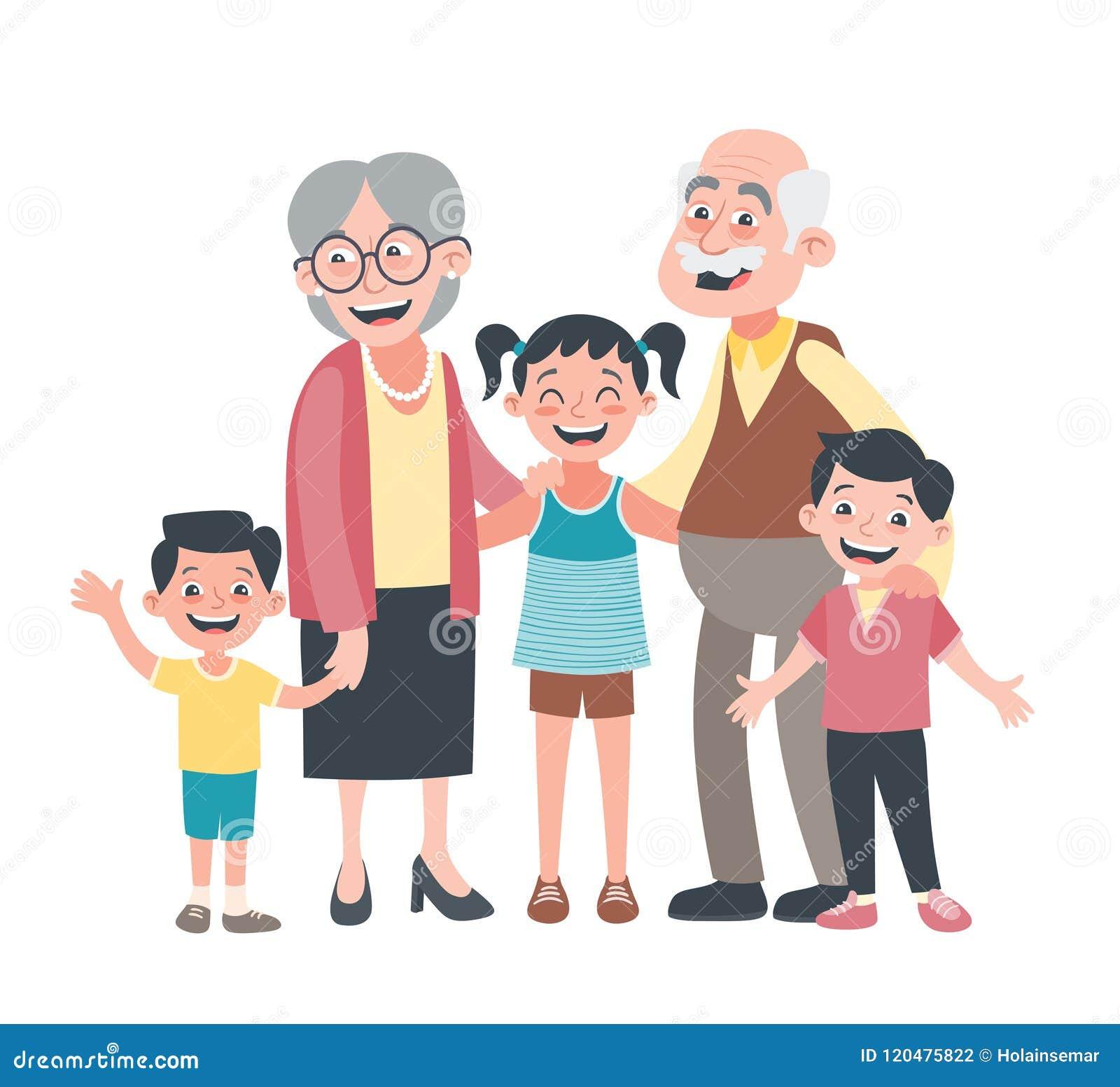 Grandparents and three grandchildren portrait