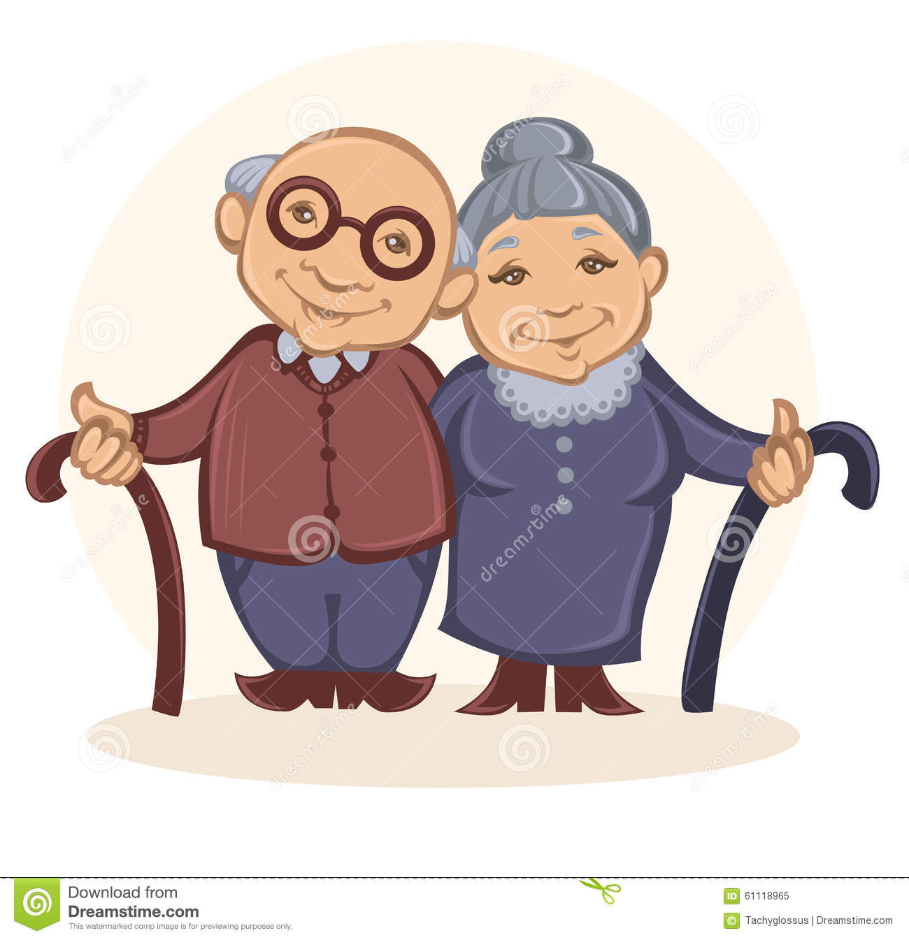 Grandparents, vector image of happy old people in cartoon style.