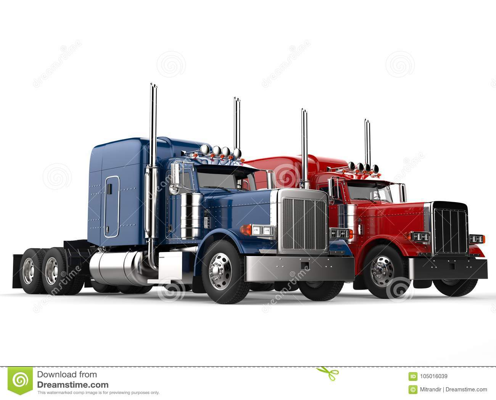 Grands camions modernes rouges et bleus de semi-remorque - côte à côte