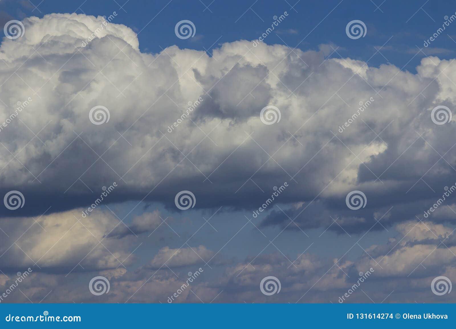 Grands cumulus blancs dans le ciel bleu